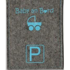 Parkscheibe / Parkkarte blaue Zone - Baby an Board - grau / blau