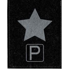 Parkscheibe / Parkkarte blaue Zone - Stern - schwarz / silber