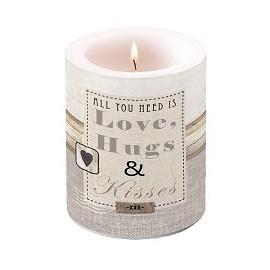 Love, Hugs & Kisses Kerze Gross