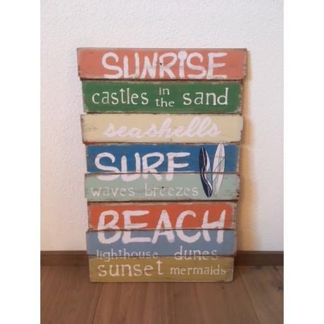 Holzbild Sunrise, Surf & Beach