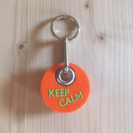 Filz Schlüsselanhänger Keep Calm - orange/grün