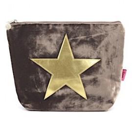 LUA Samtbeutel 'Velvet Star' gross - braun mit goldenem Stern