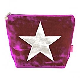 LUA Samtbeutel 'Velvet Star' Grösse L - purple mit Silberstern