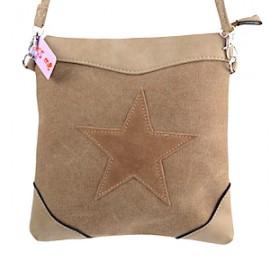 KIS ME Canvas-Tasche mit Stern oval - braun/beige