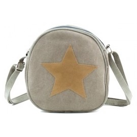 KIS ME Canvas-Tasche mit Stern - oval - olivgrün/braun