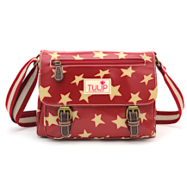 TULIP by Candy Flowers Umhängetasche 4205 - burgundy mit beigen Sternen