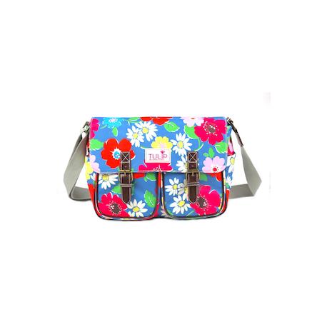 TULIP by Candy Flowers Umhängetasche (Messenger) 4246 - hellblau mit Blumenmotiv