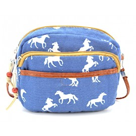 Umhängetasche Canvas klein - hellblau mit weissen Pferden
