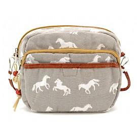 Umhängetasche Canvas klein - grau mit weissen Pferden