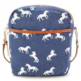 Umhängetasche Canvas mittel - blau mit weissen Pferden