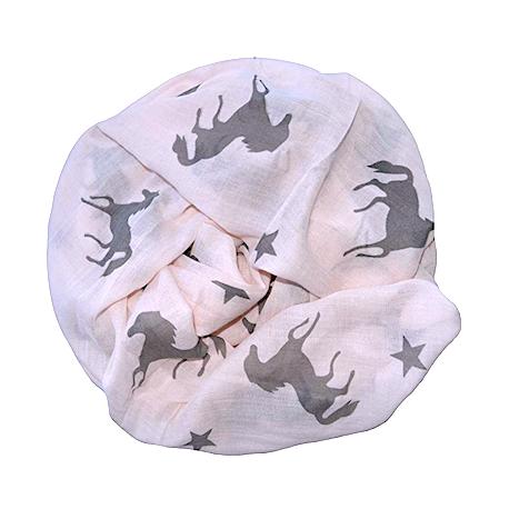 Rundschal (Loop) für Damen - rosa mit Pferden und Sternen
