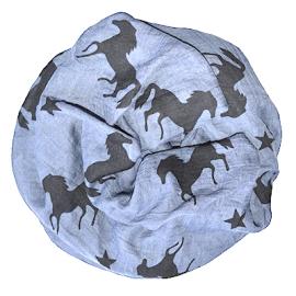 Rundschal (Loop) für Damen - hellblau mit Pferden und Sternen