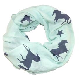 Rundschal (Loop) für Damen - grün mit Pferden und Sternen