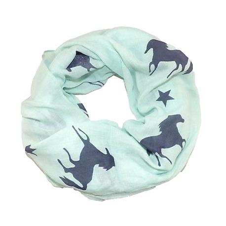 b7d194d9704144 Rundschal (Loop) für Damen - grün mit Pferden und Sternen Produktbe...