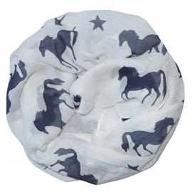 Rundschal (Loop) für Damen - weiss mit blauen Pferden und Sternen