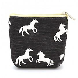 Mini-Börse/Beutel Canvas - schwarz mit Pferden