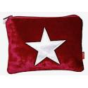 Samtbeutel 'Velvet Star' Grösse S - rot mit Silberstern