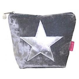 Samtbeutel 'Velvet Star' Grösse M - grau mit Silberstern
