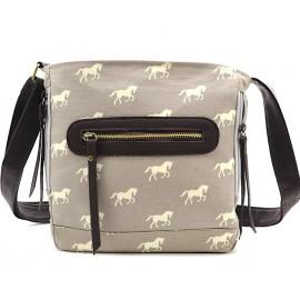 Canvas Schultertasche - grau mit Pferden