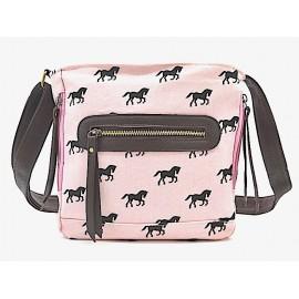 Canvas Schultertasche - rosa mit Pferden