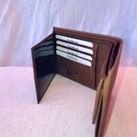 Echt Leder Portemonnaie Alpaufzug, 11x7cm