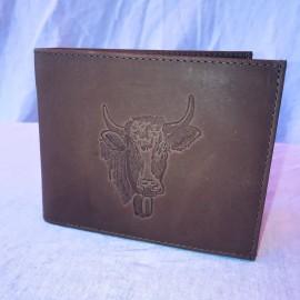 Echt Leder Portemonnaie Kuh, 11x7cm