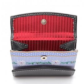 Ethno Leather of Emmental Portemonnaie klein  - schwarzes Leder mit Edelweissstoffeinsatz