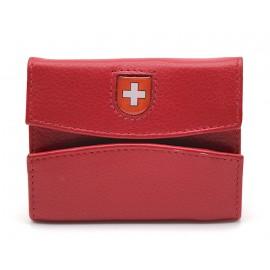 Ethno Leather of Emmental Portemonnaie klein - Leder und Stoff rot mit CH-Wappen