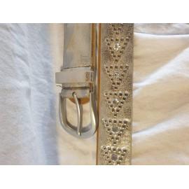 Damen Leder- Gürtel gold mit Nieten