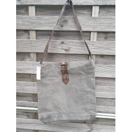 Vintage Tasche aus recyceltem Canvas dunkelgrau mit grünstich 42x41 cm