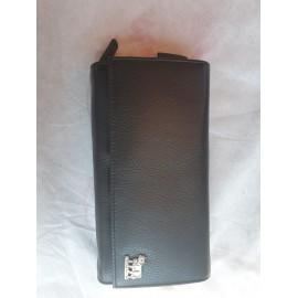 Service Portmonnaie schwarz Leder mit Kühlli, 7 Fächer dazu 1 x mit Reissverschluss