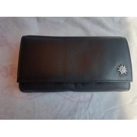 Service Portmonnaie schwarz Leder mit Edelweiss , 7 Fächer dazu 1 x mit Reissverschluss